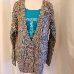 Junior womens MED multi color cardigan sweater